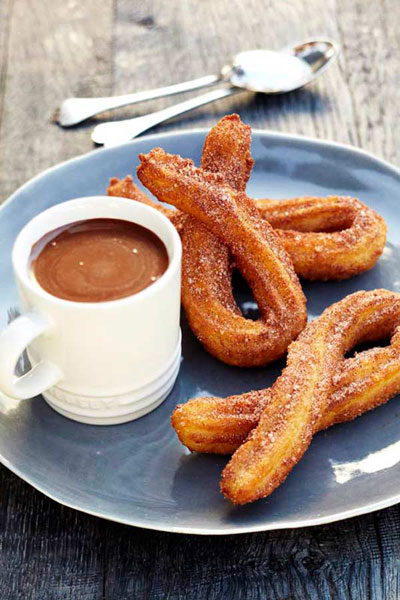 Easter chocolate churros with a shot of hot chocolate