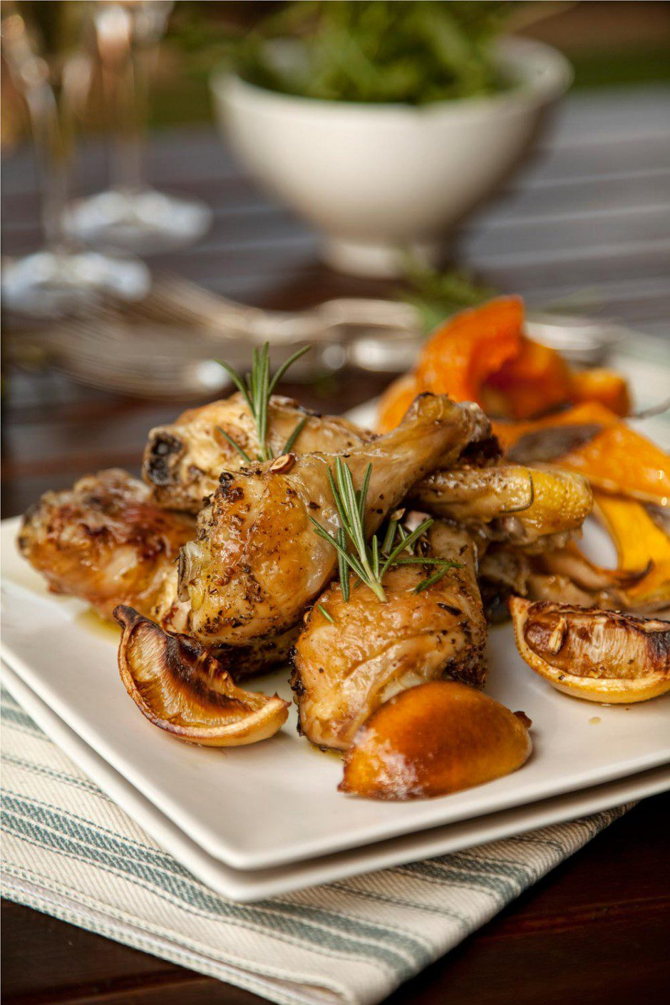 Garlic, Lemon and Rosemary Roast Chicken Served with Baked Butternut