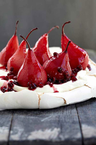 Pavlova with Poached Pears and Pomegranate