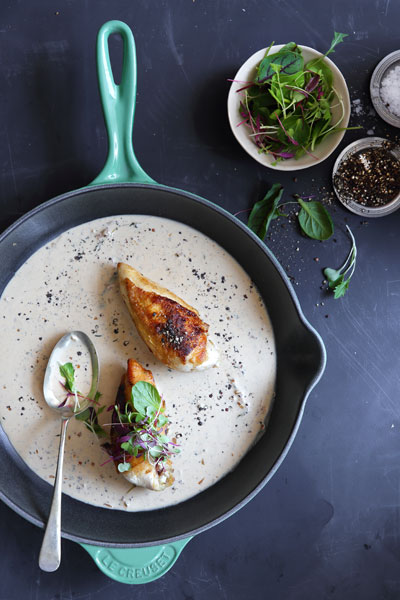 French-inspired food chicken au poivre