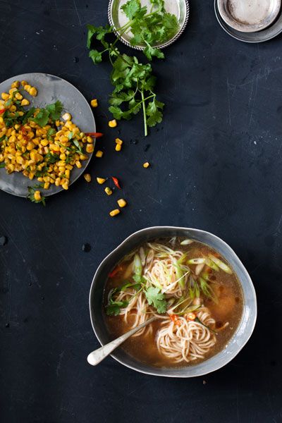 Chinese Chicken Noodle Soup with Flash-Fried Soy and Shaoxing Sweetcorn Recipe