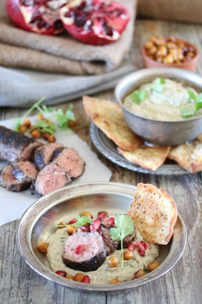GRILLED LAMB FILLET WITH BABA GHANOUSH, CHICKPEAS AND POMEGRANATE