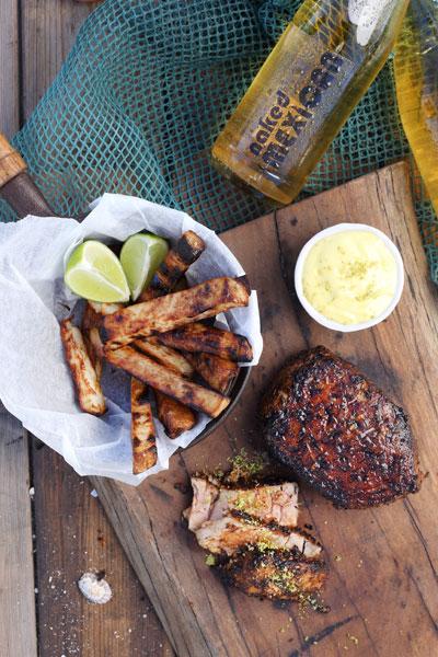 Blackened Tuna Steak & Chips with Zesty Lime Mayo