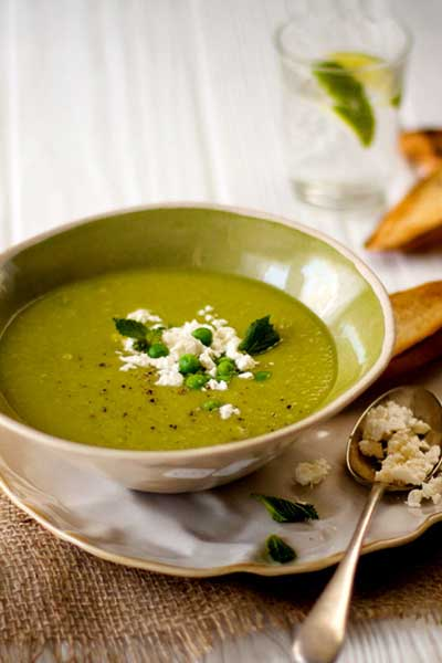Autumn in South Africa pea and mint soup