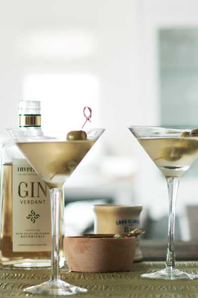 Dirty Martini with Stilton–stuffed Olives