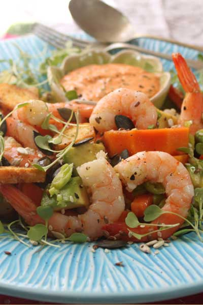Prawn, Papaya and Avo Salad with Red Pepper Mayo Recipe