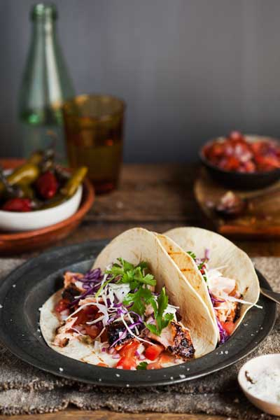 Quick and Easy Taco recipes - coffee rubbed salmon taco