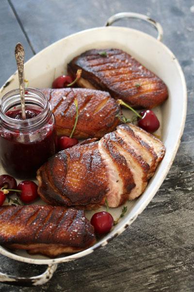 Jean Roi Cap Provincial Rosé crispy-skin-duck-cherry-juniper-jam/