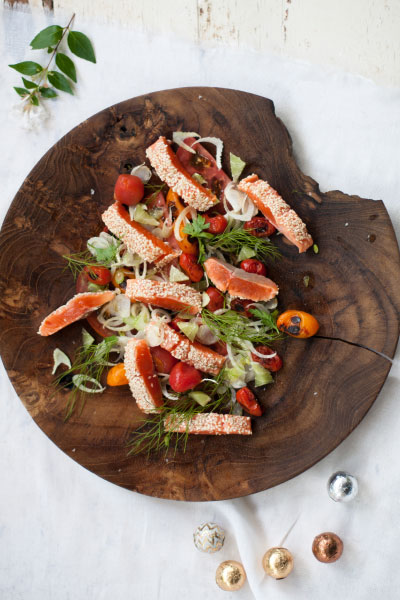 healthy fish recipes - sesame-crusted-salmon-shaved-fennel-tomato-salad