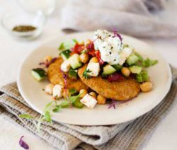 'Chicken' Stack Topped with Tzatziki & Chickpea Salad