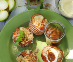 Apple Crumble Cupcakes with Crème Fraîche & Butterscotch Sauce