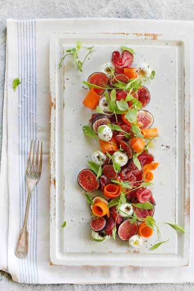 Cured Beef & Fig Salad with Pickled Carrot & Labneh