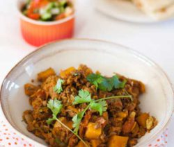 Curried Mince & Butternut-with Sambals