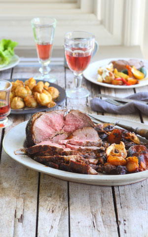 Roast Deboned Leg of Lamb Stuffed with Dates & Fresh Herbs recipe