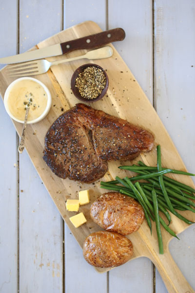 Peppered Steak with Madagascan Green Peppercorn Sauce