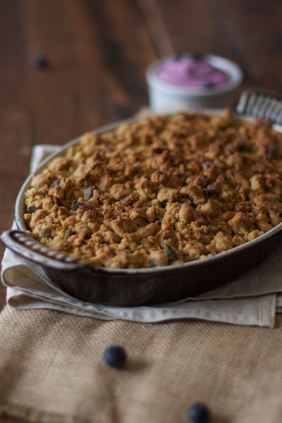 Apple & Pear Crumble Recipe with Blueberry Cream