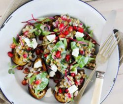Roasted Baby Aubergines with Lentils