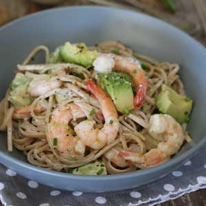 Wholewheat Linguini with Prawns, Avocado and Lemon and Chive Sour Cream Dressing