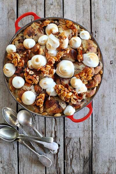 Hot Cross Bun Pudding with Egg Custard & Meringue Topping recipe