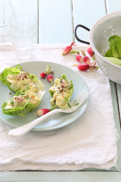Healthy Eating Creamy Egg Salad Lettuce Cup