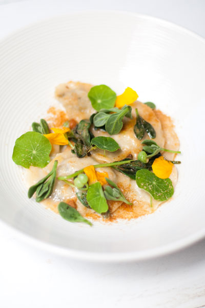 Limpet Dumplings with Dune Spinach, Sea Urchin and Nasturtiums