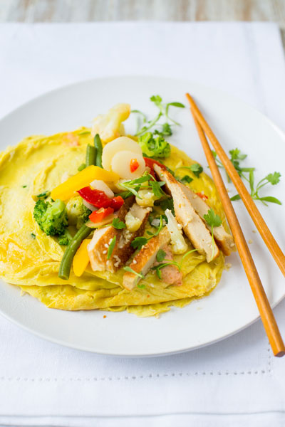 Omelette Wraps with Quorn & Spicy Stir Fried Vegetables Recipe