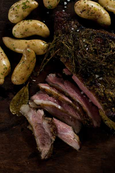 barbecued butterflied leg of lamb