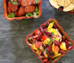 nachos with mango & bean salsa 4x6