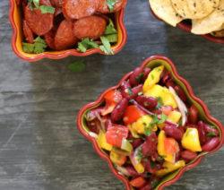 nachos with mango & bean salsa 4x6