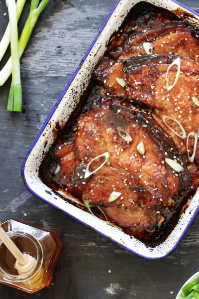 Sticky honey, soy and ginger pork chops recipe