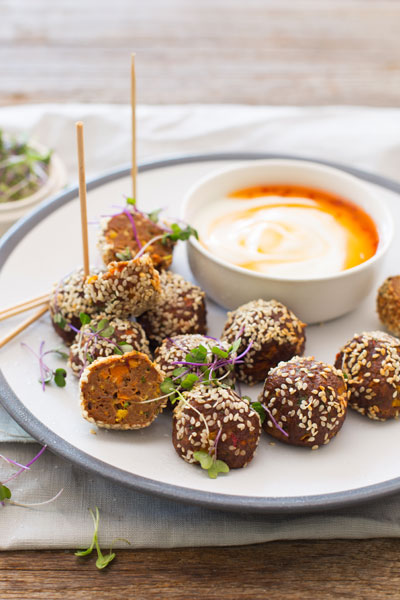 Asian Meatballs with a Sweet Chilli & Yoghurt Dip