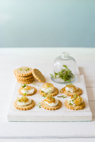 Gruyere & Thyme Crackers with Goats Cheese & Caramelised Onions