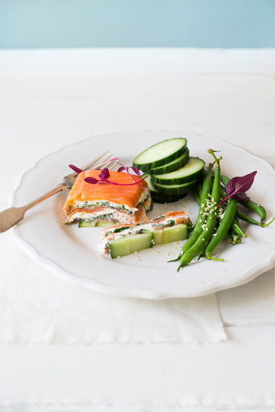 Smoked Salmon, Watercress and Mustard Terrine with Sesame Green Beans