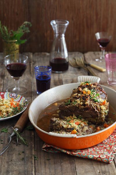 slow roasted shoulder of lamb stuffed with moroccan spiced couscous recipe