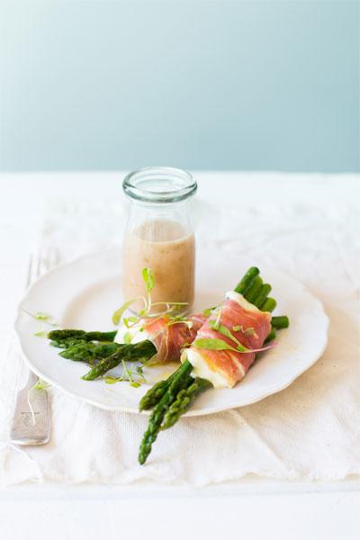 Asparagus, Mozzarella & Parma Ham Parcels with a Red Onion & Caper Dressing