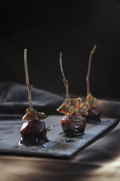 sophisticated halloween party food Recipe Balsamic Toffee Beets with Spicy Pumpkin Seed Praline