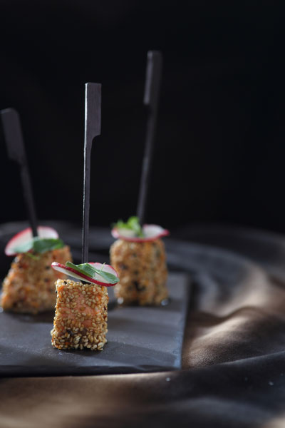 Spicy Salmon Squares with shaved radish canape recipe