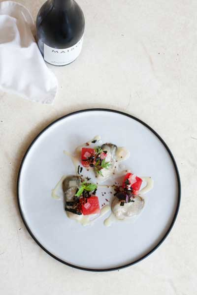 Oysters with Pickled Watermelon, wasabi emulsion, quinoa puffs and nori recipe