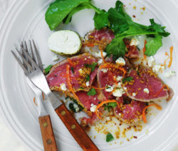 Beef Carpaccio Goats Cheese & Grapefruit Mustard Dressing