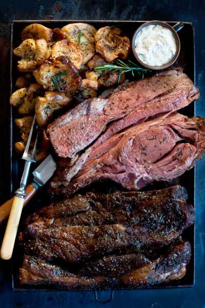 Prime Rib Roast with Smashed Potatoes and horse radish cream