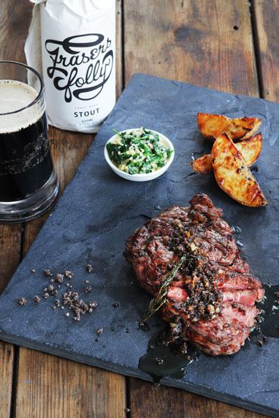 Rib-Eye Steak with Stout Salt & Bone Marrow Butter