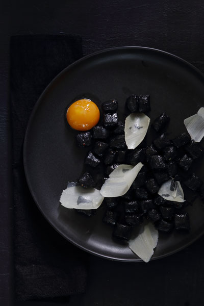 Squid Ink Gnocchi with a Slow Cooked Egg Yolk & Parmesan
