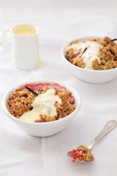 Raspberry & Vanilla Apple Crumble with crème anglaise, nomu vanilla extract