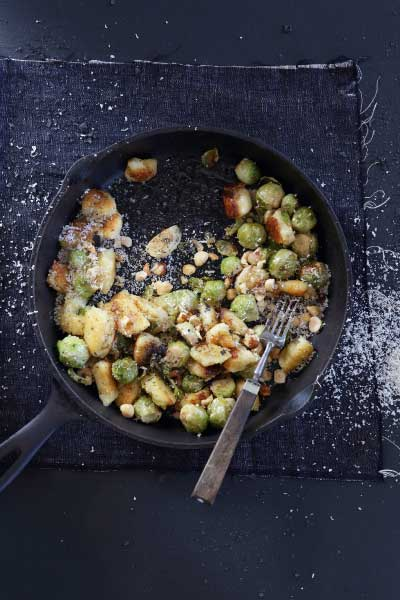 Pan-fried gnocchi with roasted brussel sprouts and hazelnuts recipe