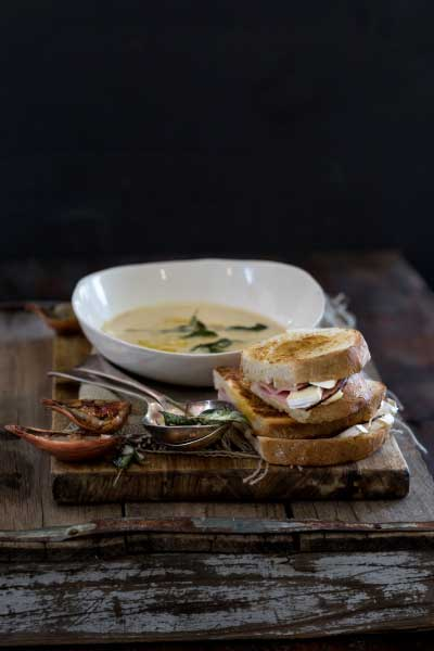 creamy onion and burnt sage soup with camambert croque monsieur