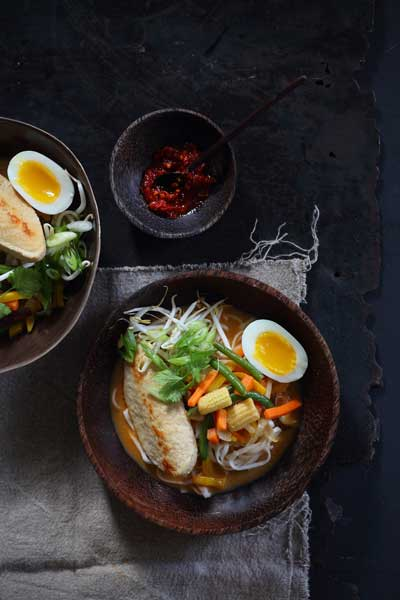 Laksa Noodle Soup with Boiled Egg