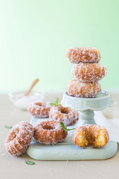 doughnut recipes mini coconut almond doughnuts