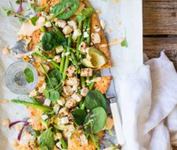 Quorn, Asparagus & Feta Flatbread with Paprika & Horseradish Mayo