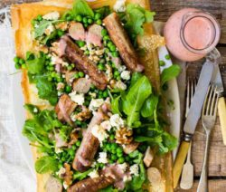 Quorn Sausage, Pea & Rocket Tart with a Berry Dressing