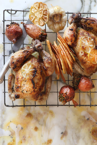 Rustic Roasted Baby Chickens with Herb Stuffed Baby Onions
